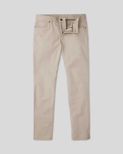 Cotton Stretch 5-Pocket Pants - Stone
