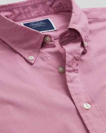 Button-Down Collar Soft Washed Stretch Poplin Shirt - Pink