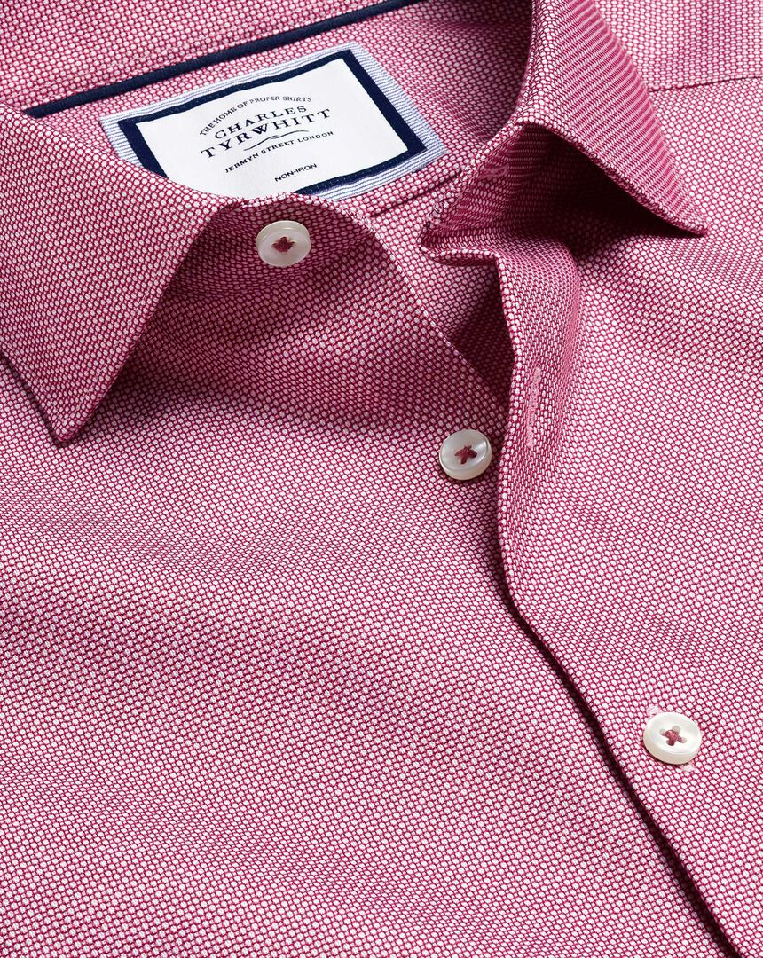 Business Casual Collar Non-Iron Stretch Texture Shirt - Red