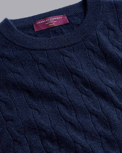 Cashmere Cable Knit Crew Neck Sweater - Navy