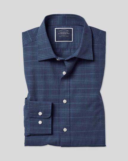 Hemd mit Kent Kragen und Ton-in-Ton-Karos - Marineblau