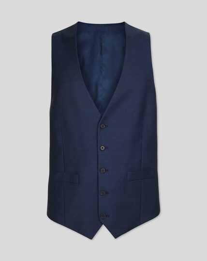 Twill Business Suit Vest - Blue