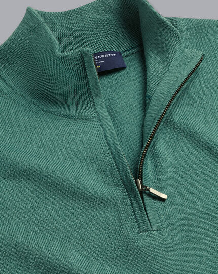 Merino Zip Neck Jumper - Green