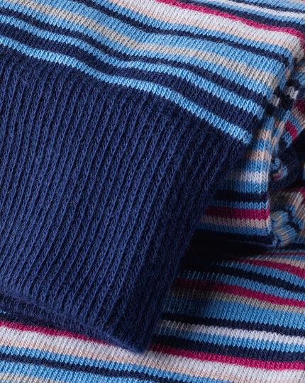 Multi Stripe Socks - Blue & Pink