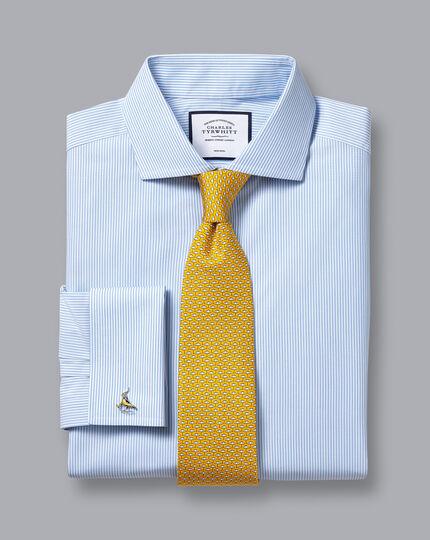 Cutaway Collar Non-Iron Bengal Stripe Shirt - Sky Blue