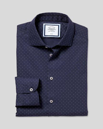 Bügelfreies Hemd mit Business-Casual-Kragenund Punkten - Marineblau