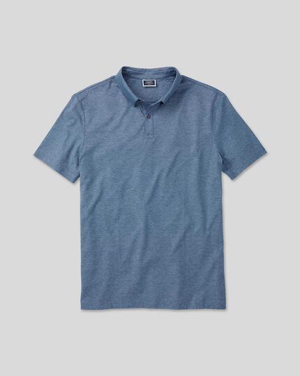 Jacquard-Polo aus Baumwolle-TENCEL™-Mix - Blau