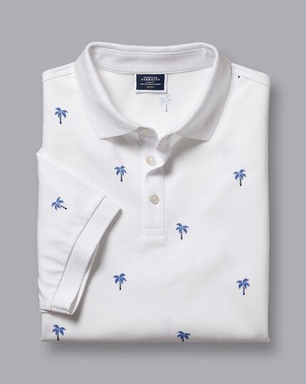 Tyrwhitt Piqué-Polo mit Palmenmotiv - Weiß