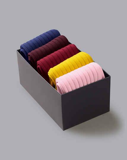 Rippstrick-Socken aus Baumwolle in Geschenkbox - Bunt