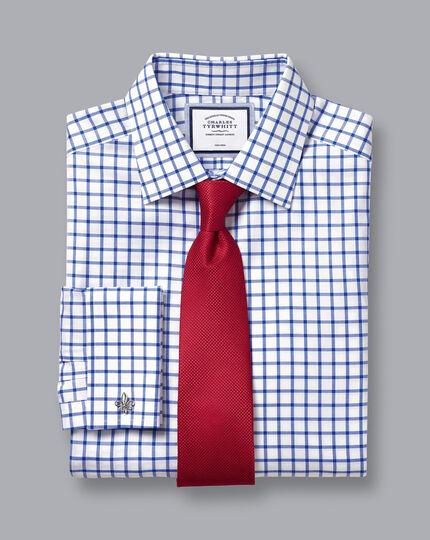 Non-Iron Twill Grid Check Shirt - Cobalt Blue