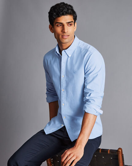 Button-Down Collar Washed Oxford Shirt - Sky Blue