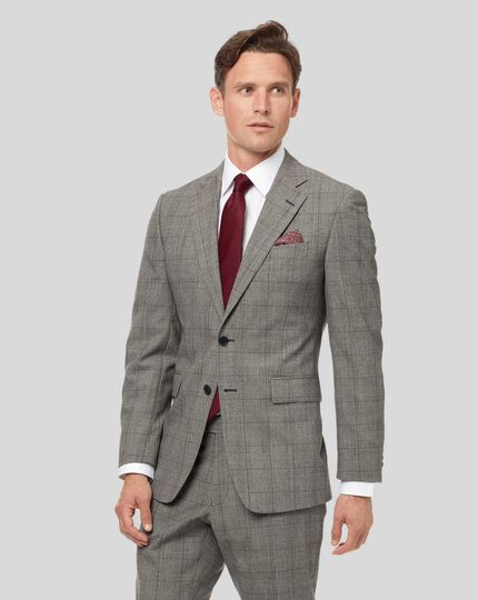 Prince of Wales Check Suit Jacket - Grey & Burgundy