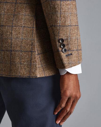British Wool Windowpane Check Jacket - Taupe