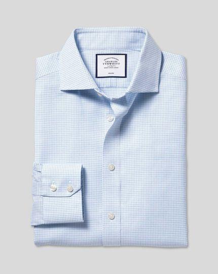 Bügelfreies Hemd aus Stretch-Baumwolle mit Haifischkragen und Karos - Himmelblau