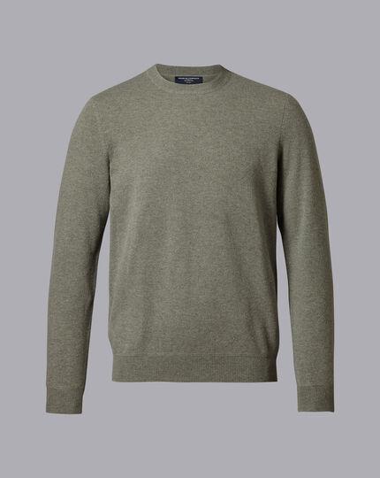 Merino Cashmere Crew Neck Sweater - Sage Green