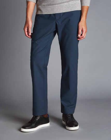 Hose aus Stretch-Baumwolle mit Basketweave-Struktur - Marineblau