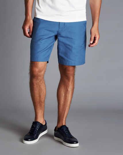Shorts aus Baumwolle und Leinen - Leuchtend Blau