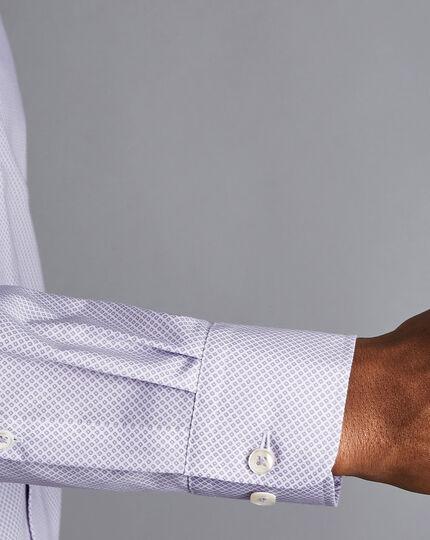 Semi-Cutaway Collar Non-Iron Motif Print Shirt - Lilac