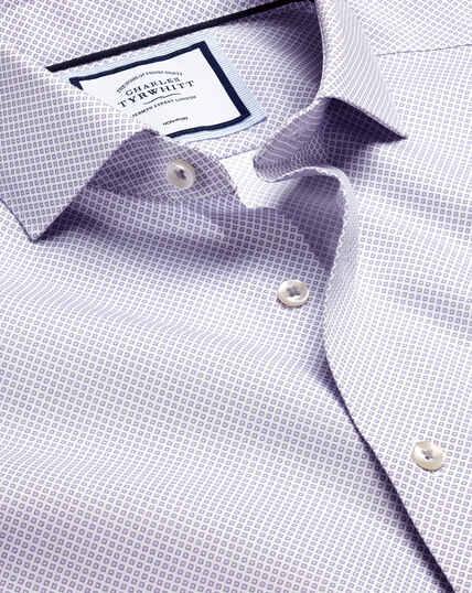 Semi-Spread Collar Non-Iron Motif Print Shirt - Lilac