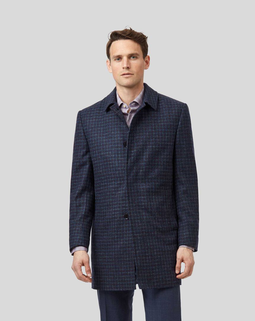 Overcheck Dogstooth Wool Car Coat - Blue & Red