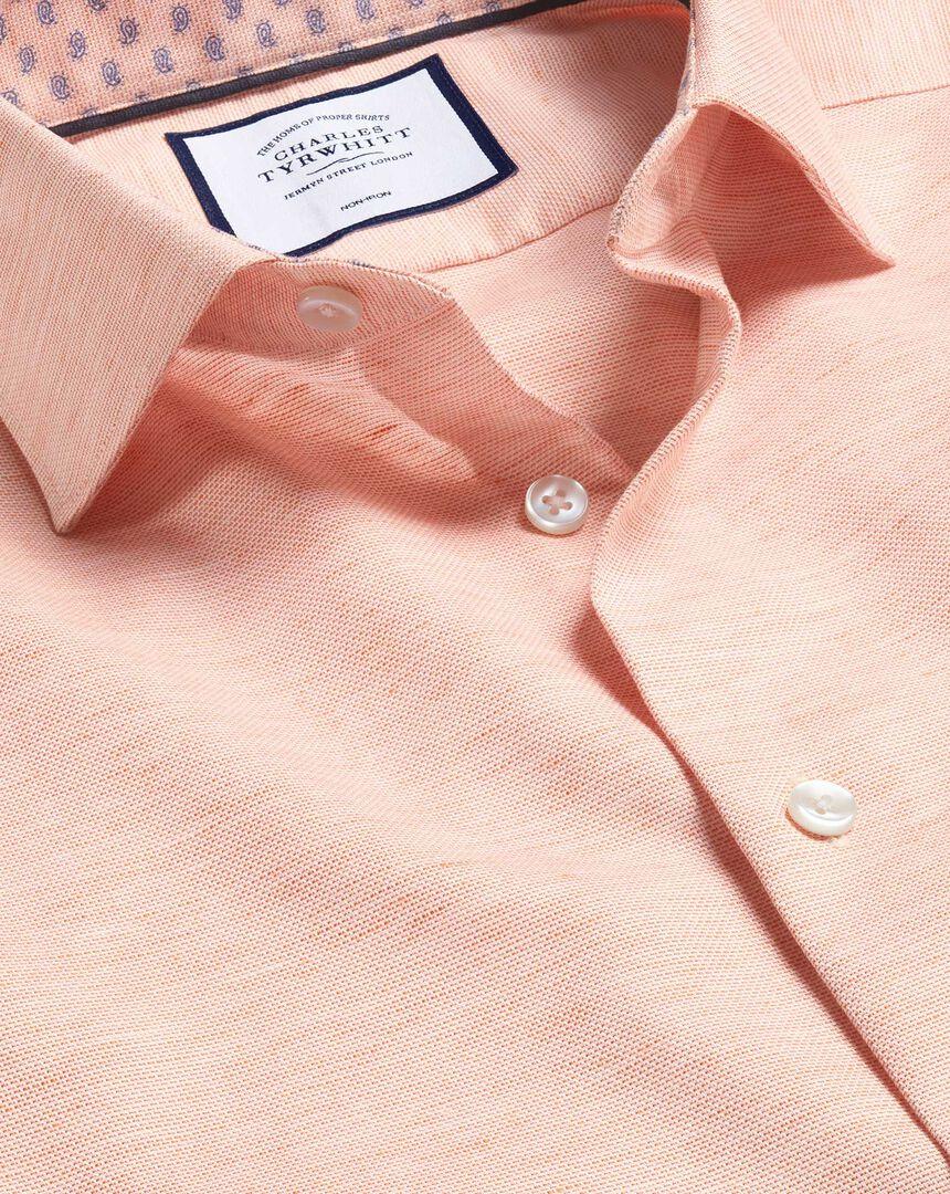 Business Casual Collar Cotton Linen Shirt - Orange