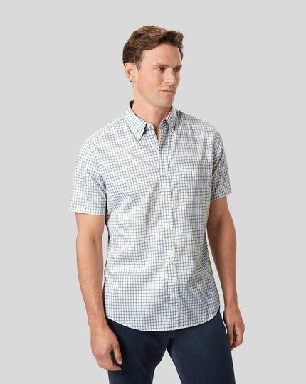 Bügelfreies Popeline-Kurzarmhemd aus Stretchgewebe mit Button-down-Kragen und Karos- Gelb & Blau