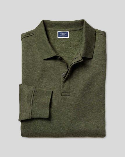 Langärmeliges Polo-Sweatshirt - Olivgrün