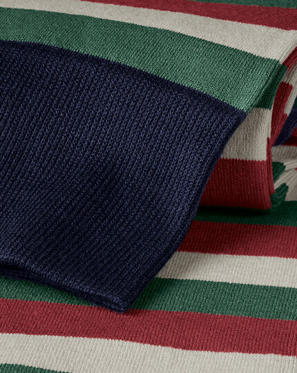 Block Stripe Socks - Red & Olive