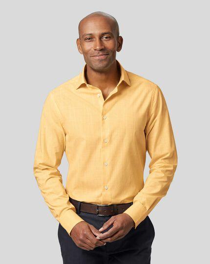Business Casual Collar Slub Shirt - Yellow