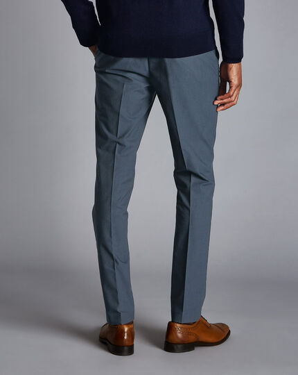 Non-Iron Basketweave Stretch Trousers - Blue