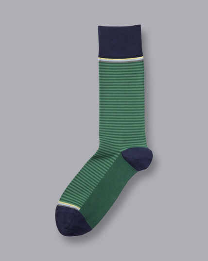 Jacquardsocken mit feinen Streifen - Grün & Marineblau