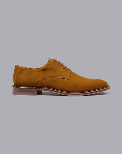 Flexible Sole Suede Derby Shoes - Rust