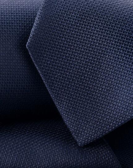 Stain Resistant Silk Tie - Navy