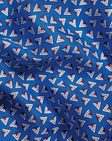 Einstecktuch mit Retro-Dreieck-Print - Königsblau & Rot