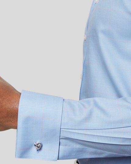 Bügelfreies Hemd mit Kent-Kragenund Prince-of-Wales-Karos - Himmelblau & Rosa