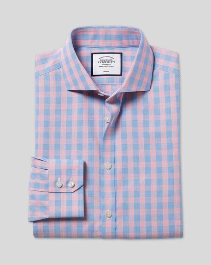 Spread Collar Non-Iron Tyrwhitt Cool Poplin Check Shirt - Blue & Orange