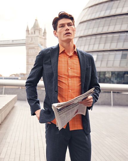 Classic Collar Short Sleeve Tone-on-tone Check Shirt - Orange