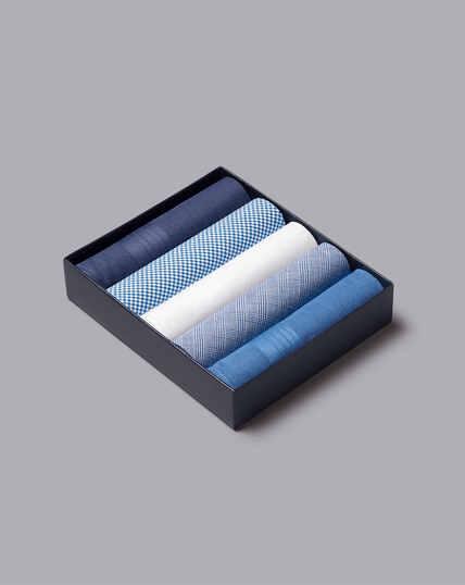 Handkerchief Box Set - Blue & White