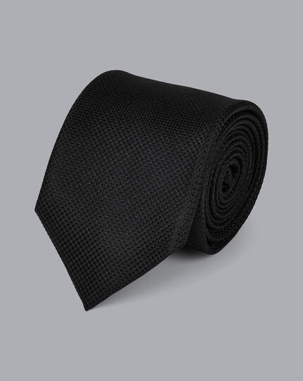Stain Resistant Silk Textured Tie - Black