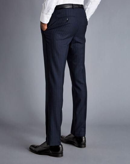 Herringbone Stripe Business Suit - Navy