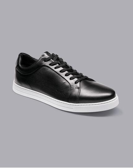 Leder-Sneaker - Schwarz