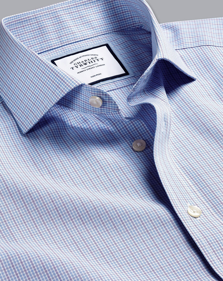 Cutaway Collar Non-Iron Poplin Check Shirt - Purple & Blue
