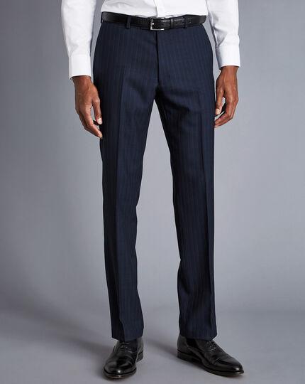 Herringbone Stripe Business Suit Pants - Navy
