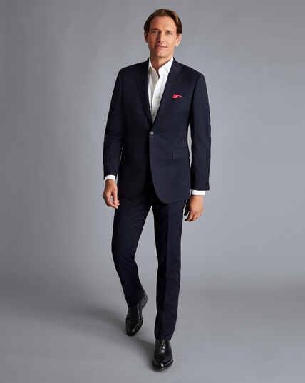 Stripe Birdseye Travel Suit - Navy