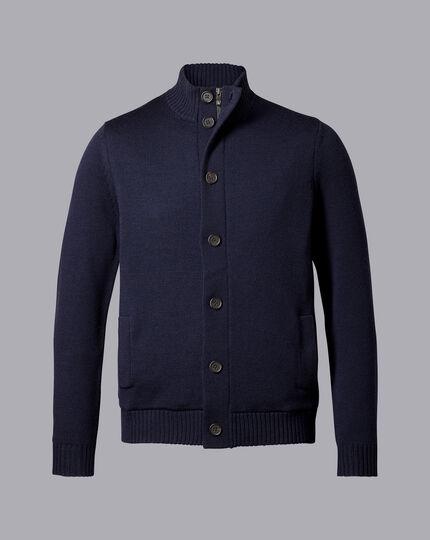 Merino Funnel Neck Jacket - Navy