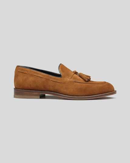 Flexible Sole Tassel Loafers - Tan