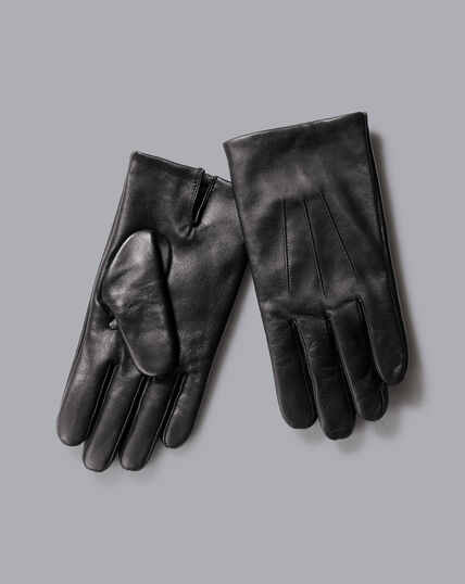 Leather Touch Screen Gloves - Black