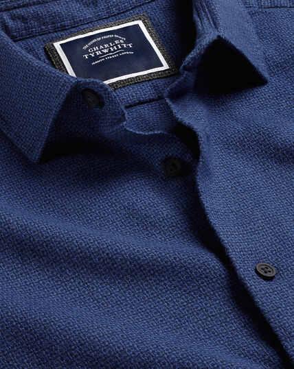 Textured Flannel Shirt - Blue & Navy