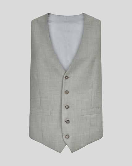 Sharkskin Travel Suit Waistcoat - Silver