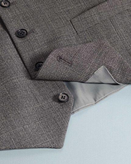 Grey adjustable fit jaspé check business suit vest